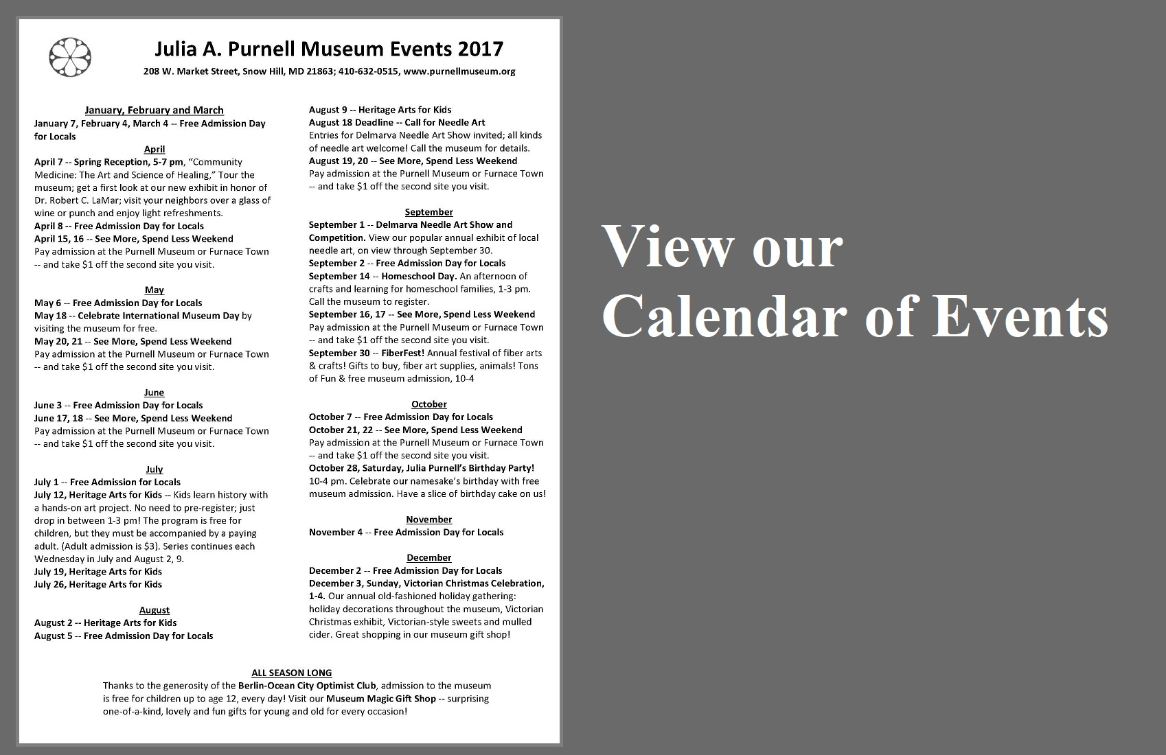 Purnell Calendar website