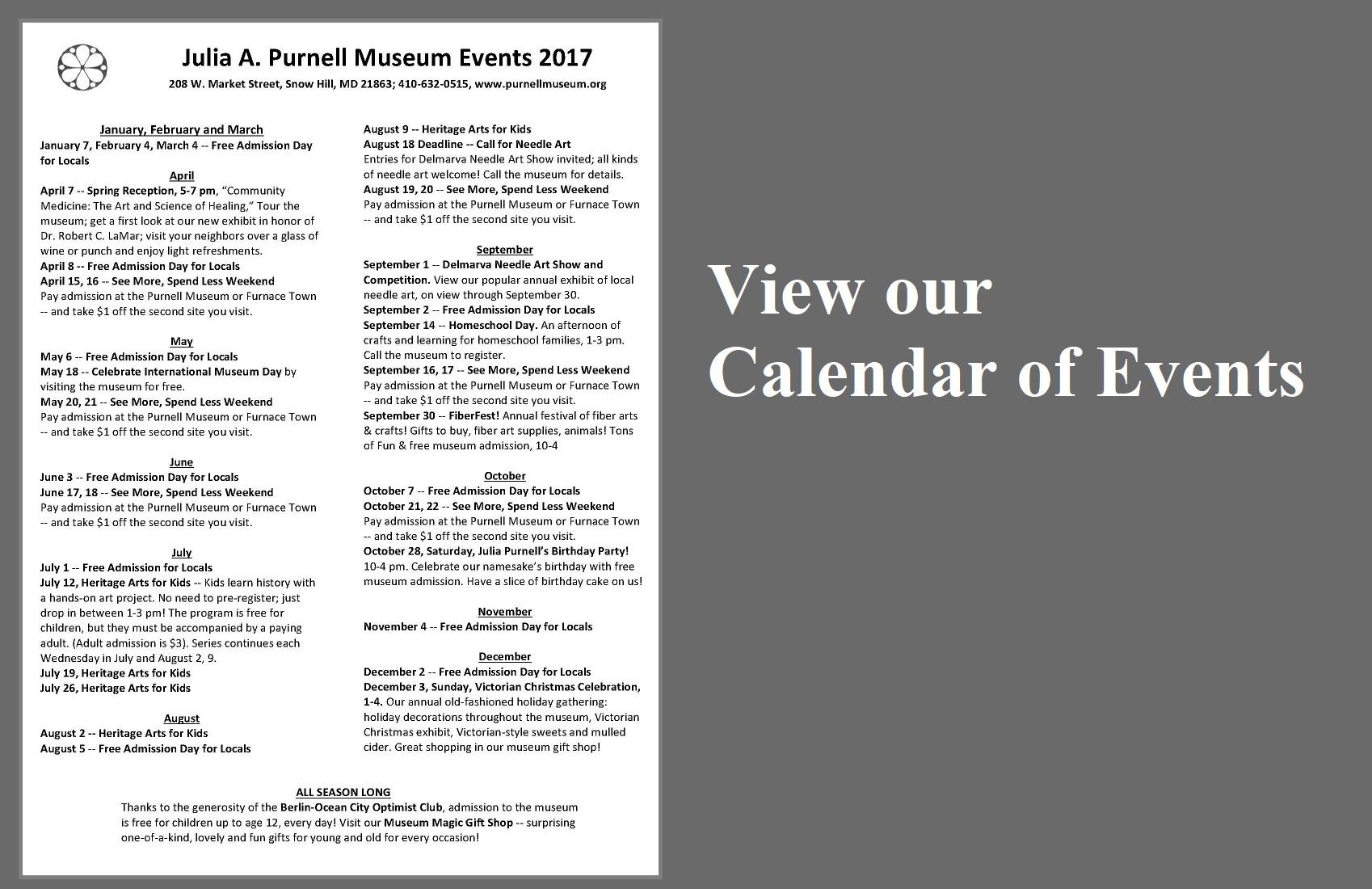 Purnell Calendar website